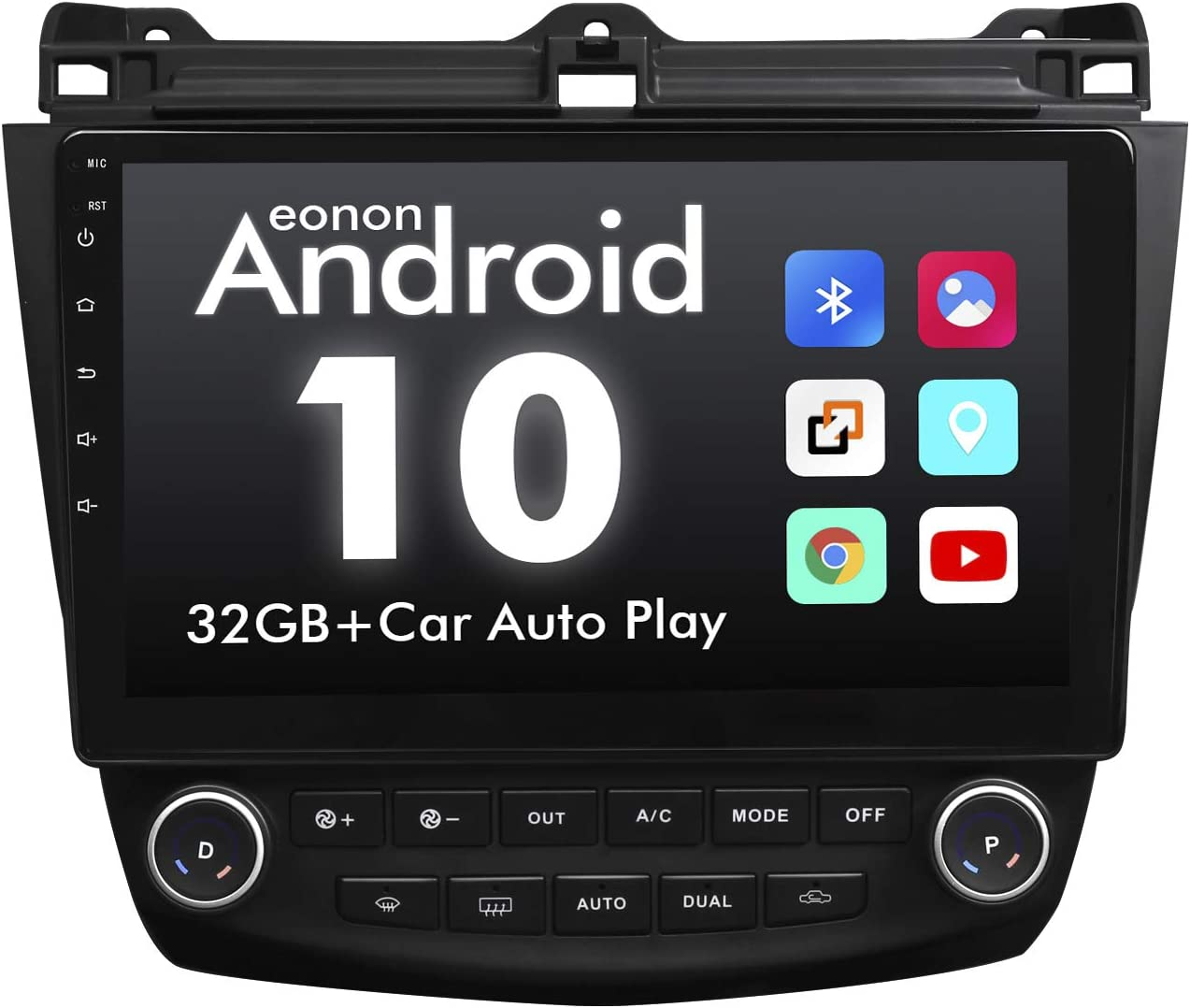 2021 Newest Android 10 Double Din Car Stereo, Eonon 10.1 Inch Car Radio Compatible with 2003~2007 Accord, GPS Navigation Radio Support Split Screen/Built-in Apple Carplay/DSP -GA9476B