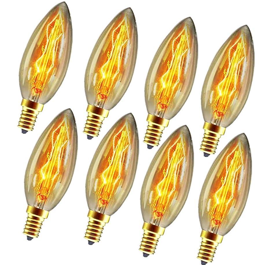 Vintage Incandescent Chandelier Light Bulbs 60W 110-130V, 320 Lumen,2200K,Torpedo Shape Bullet Top Light Bulb with Candelabra Base (E12) Home Light Fixtures Decorative, Dimmable,8-Pack
