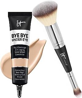 مجموعه لوازم آرایشی و بهداشتی IT - شامل Supersize Bye Bye Under Eye Concealer (20.0 Medium) Heavenly Luxe Complexion Perfection Concealer Brush (1 oz oz) - با کلاژن ، اسید هیالورونیک