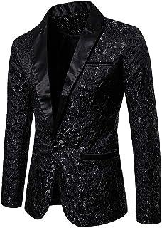 Traje de Hombre Slim Fit con Un Sólo Botón Solap Blazer para Hombre Bordado Floral Boda, Fiesta, Navidad, Año Nuevo