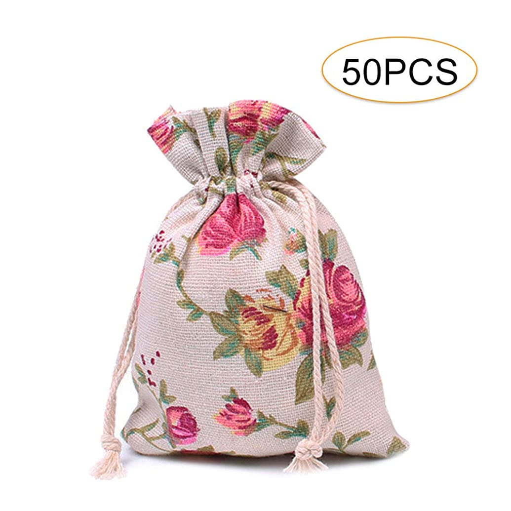 50 Pcs Roses Drawstring Bags, Cooyeah Floral Pattern Double Drawstring Linen Reusable Storage Bag Perfect for Jewelry Pouch Wedding Birthday Parties Favor Gift