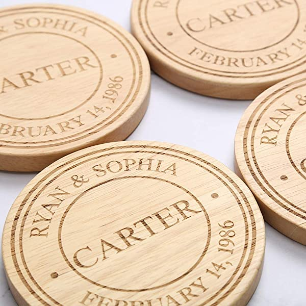 Personalized Coasters Wooden Custom Engraving Coaster Gifts For Wedding Housewarming Parents Grandparents Birthdays Holiday 4x4 Set Of 4