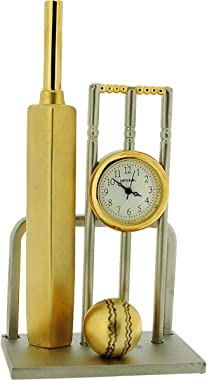 Miniature Two Tone Cricket Bat, Ball & Wickets Novelty Collectors Clock IMP1083
