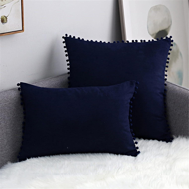 Luxlovery Throw Las Vegas 1 year warranty Mall Pillow Covers with Pom of 2 Set Soli Velvet Poms