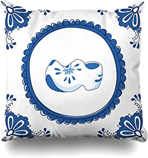 Throw Pillow Cover Square Cases 18x18 Inches Old Dutch Delft Blue Pair Cloggs Typical Fashioned Vintage Shoe Wooden Clog Flower Holland Greeting Cushion Home Decor Pillowcase