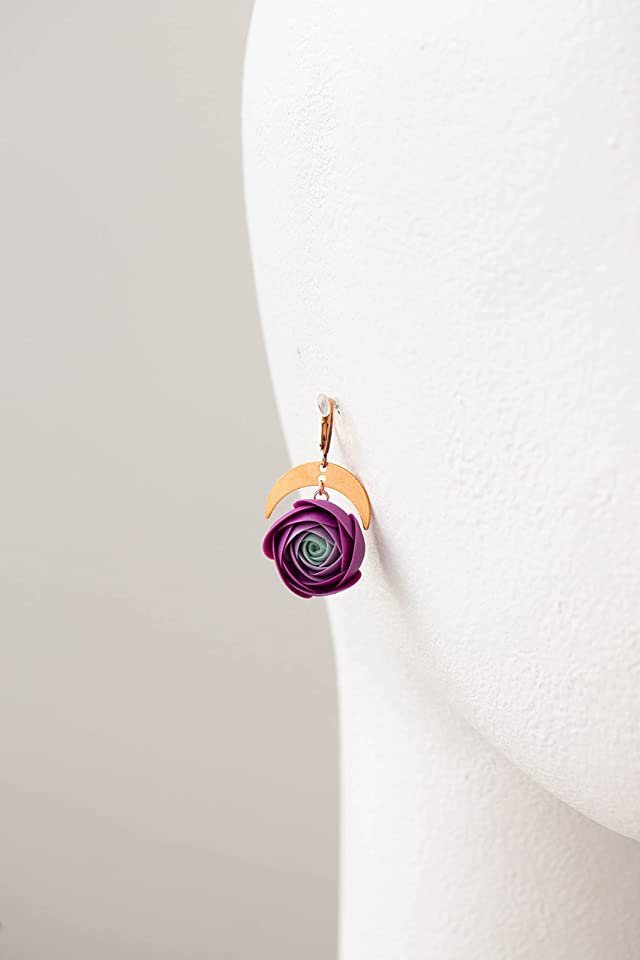 Purple Ranunculus Dangle Rose Earrings, Rose Earrings, Dangle Earrings, Garden Wedding Party Gift for Bridesmaids, Birthday Gift