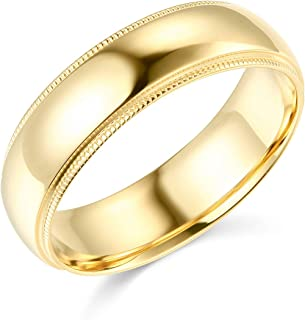 Mens 14k Yellow -OR- White Gold Solid 6mm CLASSIC FIT Milgrain Traditional Wedding Band Ring