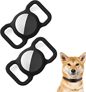 ペットシリコーン保護for airtag gpsファインダー犬猫の首輪ループ、forairtag犬の首輪ホルダー、for bluetoothトラッカーカバーforbluetoothファインダーケースペット子供高齢者のバッグ (A) ブラック