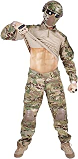 IDOGEAR Men G3 Assault Combat Uniform Set with Knee Pads and Elbow Pads Multicam Camouflage BDU Clothing Tactical Airsoft Hunting Paintball Gear