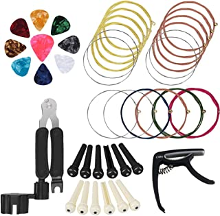 ETSAMOR 26pcs Replacement Steel String Guitar Strings Changing Kit with 3 in 1 Guitar String Winder Cutter, Bridge Pin Puller Guitar Picks and Capo Pins for All Guitars