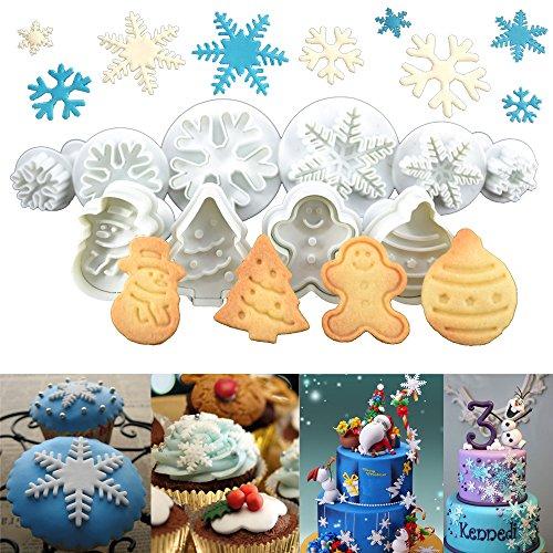 Anokay Set 10 pz Formine ad Esplsuesione per Biscotti Bianco per Decorazioni Biscotti Decorazioni in Forma di Fiocchi,Bambolotto, Babbo Natale, Albero di Natale