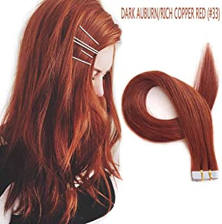 Tape in Hair Extensions Human Hair,SHOWJARLLY Dark Auburn Remy Tape in Hair Extensions,#33 Silky Straight 16inch Seamless Skin Weft Tape in Extensions (30g,20Pcs)