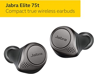 Jabra Elite 75t Earbuds – Alexa Built-In, True Wireless Earbuds with Charging Case, Titanium Black – Bluetooth Earbuds with a More Comfortable, Secure Fit, Long Battery Life and Great Sound Quality