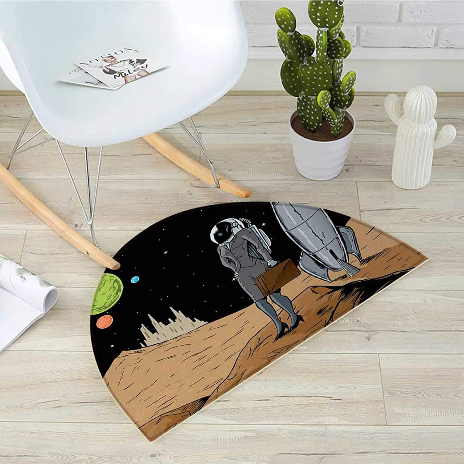 Astronaut Half Round Door mats Business Woman in Space Briefcase Buying and Selling on Alien Planet Bathroom Mat H 31.5  xD 47.2  Black Brown Multicolor