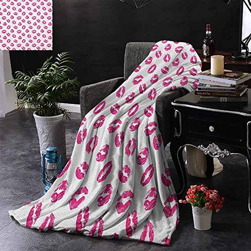 ZSUO Digital Printing Deken Diverse Verschillende Kiss Marks in Rode Vrouw Verleiding Lippenstift Trace Worn Grunge Look Cozy en Duurzaam Stof-Machine Wasbaar