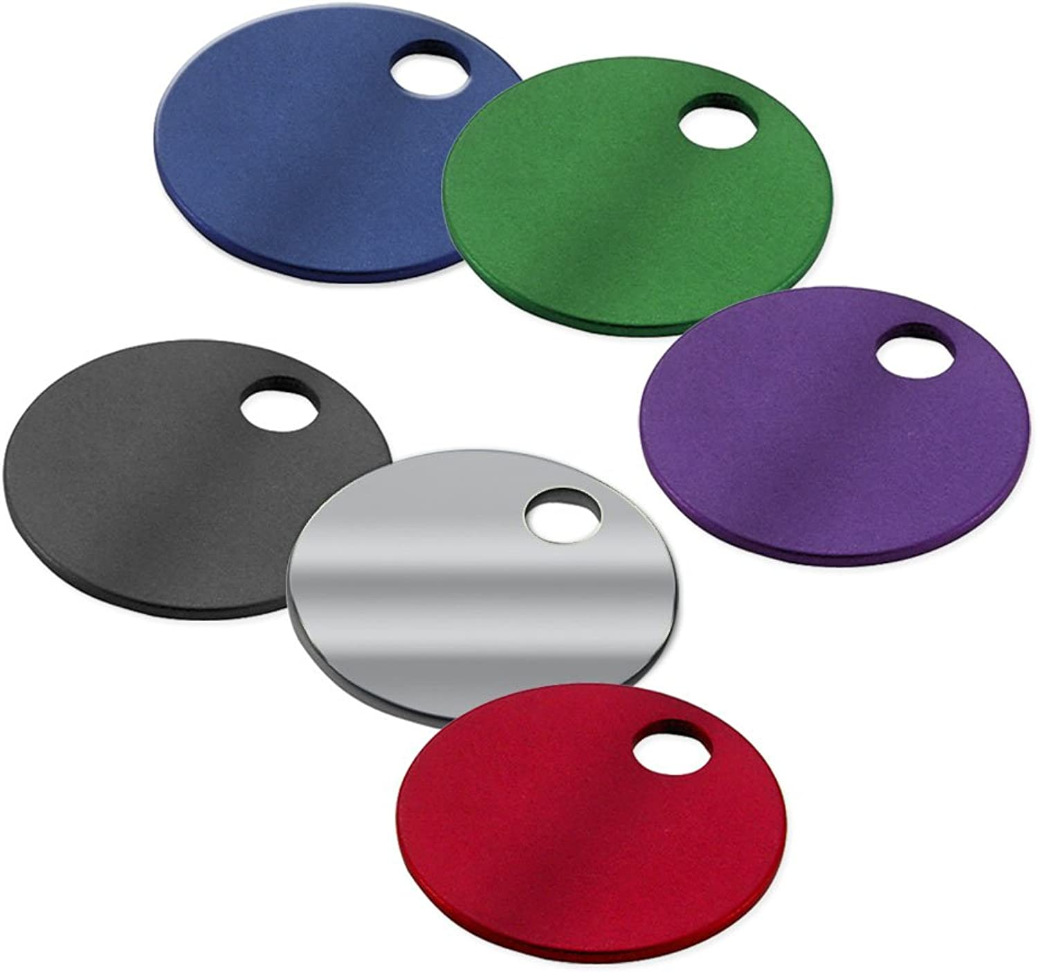 Lucky Line Lucky Line 1-1 4  Round Aluminum Tags with Hole; 100 Per Box; Assorted colors (25600)