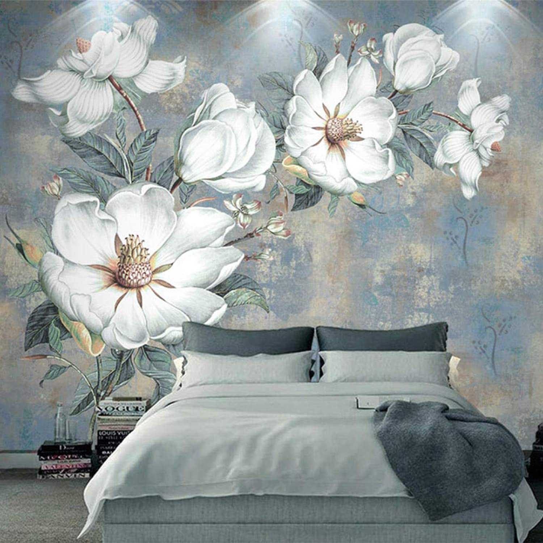 Rylryl Papel tapiz fotográfico personalizado 3D en relieve flores blancoas pintura al óleo papel de parojo dormitorio sala de estar estilo europeo Mural revestimientos de parojoes-200x140cm