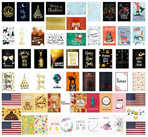 60 All Holidays Greeting Cards- Box of All Holidays Cards in 60 Different Eye Catching Designs -Cards For All Holidays- All Holidays Card Set With 60 Envelope- 4 x 6 inch -All Holidays Cards (60 Pack)
