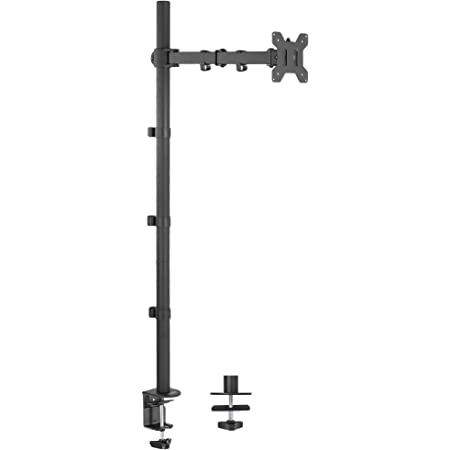 VIVO Extra Tall Single 13 to 27 inch Monitor Desk Mount Stand with 39 inch Stand-up Pole, Fully Adjustable Extended Arm Fits 1 Screen, STAND-V011