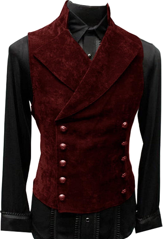 Men's Max 53% OFF Suede Suit New popularity Vest Waistcoat Business Steampunk