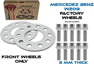 2pc 3mm Mercedes Benz 2003-2009 CLK Wheel Spacer (FRONT HUB ONLY) + 20 12x1.5 Extended Chrome Lug Bolts
