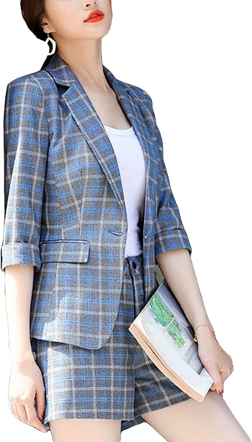MFrannie Summer Moisture Wick Light Suit Jacket Casual Office Checked Blazer