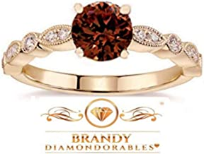 Brandy Diamondorables Chocolate Brown 14k Rose gold Silver Solitaire Ring 1.50 Ctw.