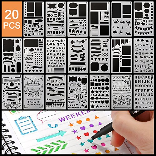 12 Pieces Hemore Bullet Journal Stencil Plastic Planner Stencils Journal//Notebook//Diary//Scrapbook DIY Drawing Template Stencil 4x7 Inch