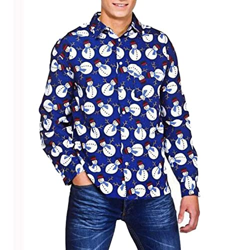 Mens Casual Long-Sleeved Shirt Autumn and Winter New Classic Small Square with Flowers Dark Blue