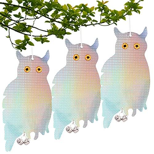 Repellente Uccelli Gufo,Set di 3 Gufo Scaccia Piccioni da Balcone,Gufo Spaventapasseri Riflettenti,Repellente Uccelli da Esterno,Gufo Spaventapasseri, 60 Mesi di Garanzia!