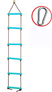 Tuko Climbing Rope Ladder Playground Swing Sets Tree House Accessories Sturdy Nylon Enamel Coated Smooth Metal Rungs (Blue) (Blue)