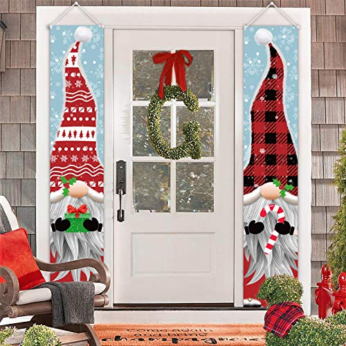 ORIENTAL CHERRY Outdoor Christmas Decorations - Gnomes Porch Sign Banners - Xmas Holiday Decor for Outside Indoor Yard Home Front Door Garage Wall