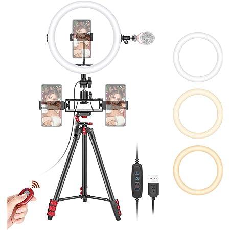 """Neewer 10"""" Luce LED Anulare da Selfie con Treppiedi, 3 Supporti Clip per Smartphone, Tubo Flessibile & Telecomando, 3 Modalità & 10 Luminosità, per Truccatura, YouTube/TikTok, Streaming in Dretta ecc"""