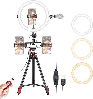 Neewer 10 Zoll Selfie Ringlicht mit Stativständer 3 Handyhalterungen LED Ringlicht mit weicher Röhre und Fernbedienungs Set 3 Moduslichter für Make up YouTube/TikTok Video Live Streaming