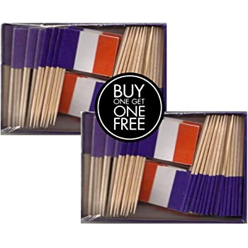 2 Boxes Mini France Toothpick Flags, BOGO Buy 1 Box of 100 and Get Another Box Free, Total 200 Small Mini French Flag Cupcake Toothpicks or Tiny Cocktail Sticks & Picks