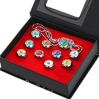 Brteyes Conjunto e colar de 10 peças de anéis Naruto para cosplay Akatsuki anéis de anime ajustáveis com caixa de acessóri...