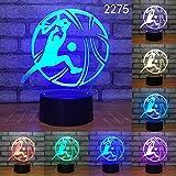 Aficionados al deporte Fútbol Baloncesto Voleibol Sueño Usb 3D LED Luz de noche Lámpara de mesa Decoración de la cabecera Regalo para niños