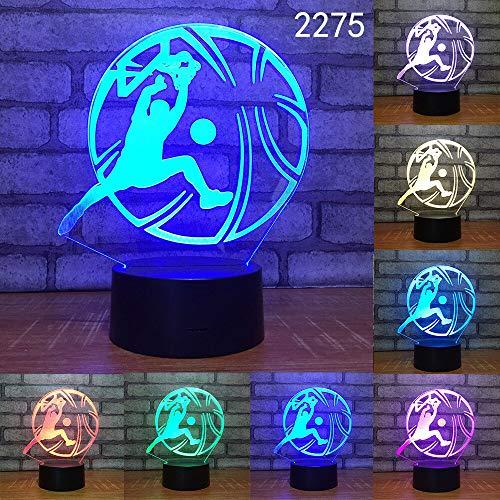 Sportfans Fußball Basketball Volleyball Schlaf Nachtlicht 3D LED Tischlampe Kinder Geburtstagsgeschenk Nachtzimmer Dekoration