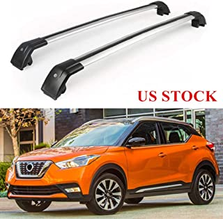 MotorFansClub Roof Rack Rail Top Cross Bar Crossbar Baggage for Nissan Kicks 2017-2019 Baggage Luggage Rack Rail Aluminum