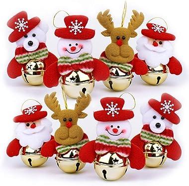 YOSICHY Christmas Bell Ornaments Sets Cute Santa Snowman Reindeer Bear for Holiday Party Decor-8PCS