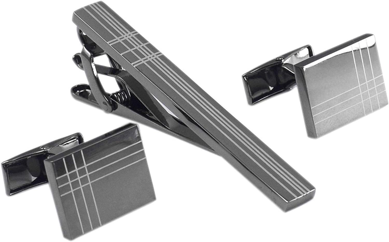 WAZG SYBLD Men's Cufflinks and Tie Clips (Metal Color : Cufflinks Tie pin)