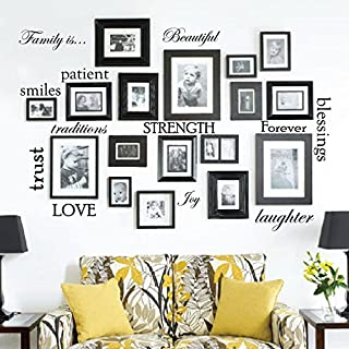 Set of 12 Family Quote Words Vinyl Wall Sticker Picture Frame Wall Family Room Art..