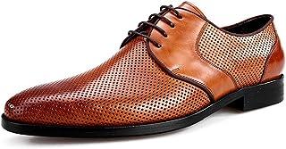 [HAPPYDAY] ビジネスシューズ 本革 革靴 メンズ レースアップ 外羽根 紳士靴 ビジネス メッシュ 通気性抜群 蒸れない カジュアル 黒 ブラック 茶色 ブラウン 彼氏 男性向け 疲れない 軽量 防滑 フォーマル 結婚式 春夏