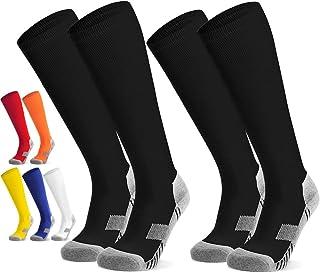 Kids Youth Soccer Socks 2 Pack (4-18) years old Anti-Slip...