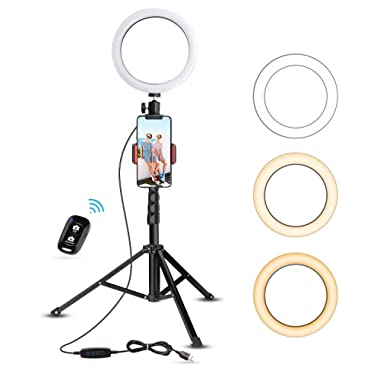 8  Selfie Ring Light with Tripod Stand & Cell Phone Holder for Live Stream/Makeup, UBeesize Mini Led Camera Ringlight for YouTube Video/Photography Compatible with iPhone Xs Max XR Android (Upgraded)