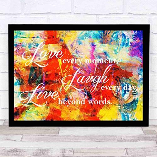 EaYanery - Vinilo decorativo para pared, diseño de texto en inglés 'Love Laugh Live' (35,5 x 30,5 cm)