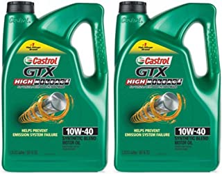 PACK OF 2 - Castrol GTX High Mileage 10W-40 Synthetic Blend Motor Oil, 5 QT