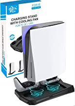 Vertical Stand Cooling Fan for Sony PS5 Console Ultra HD\Digital Edition, 2 DualSense Controller Charging Station 3 USB Hu...