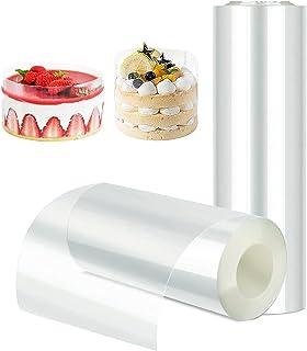 Rouleaux à Gâteaux 15cm*10m et 10cm*10m,Collier à Gâteau,Transparent Ruban D'acétate Feuilles,Cercle de Pâtissie,Film à Ch...