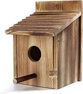 SZM Wood Bird Houses for Outside with Pole Wooden Bird House for Finch Bluebird Cardinals Hanging Birdhouse Clearance Garden Country Cottages